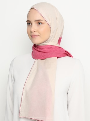 Fuchsia - Cream - Plain -  - Shawl