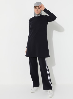 Navy Blue - Viscose - Crew neck - Tracksuit Set