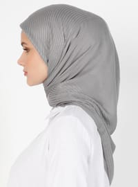 Gray - Striped - Viscose - Scarf