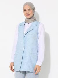 Blue - Unlined - V neck Collar - - Vest