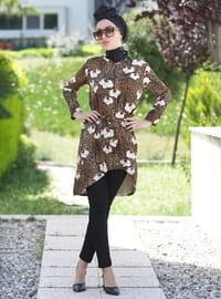 Brown - V neck Collar -  - Tunic