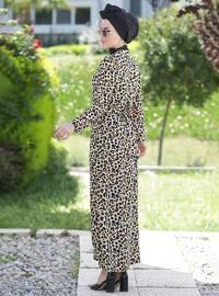 Mustard - Black - Multi - Point Collar - Unlined -  - Dress