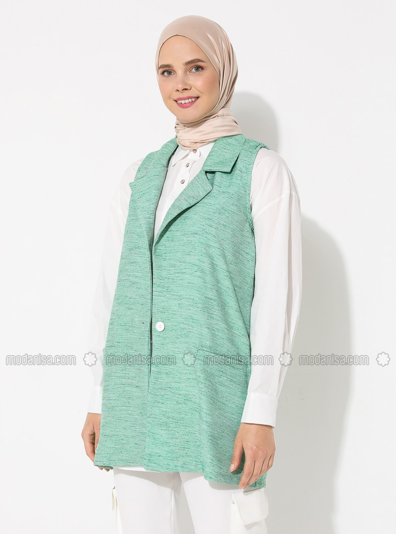 Mint - Unlined - V neck Collar - - Vest