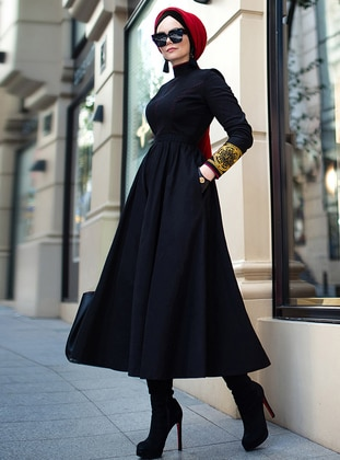 Black - Fully Lined - Polo neck - Viscose - Muslim Evening Dress