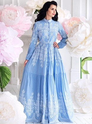 Blue - Fully Lined - Polo neck -  - Muslim Evening Dress