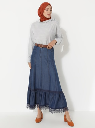 Navy Blue - Unlined - Denim - Skirt