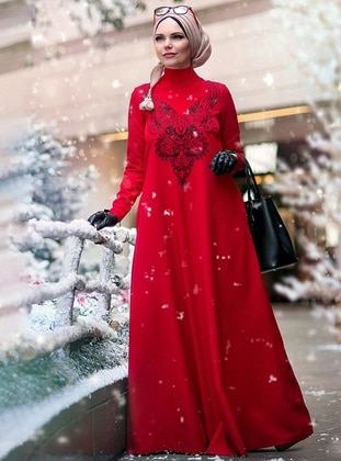 Red - Fully Lined - Polo neck - Muslim Evening Dress