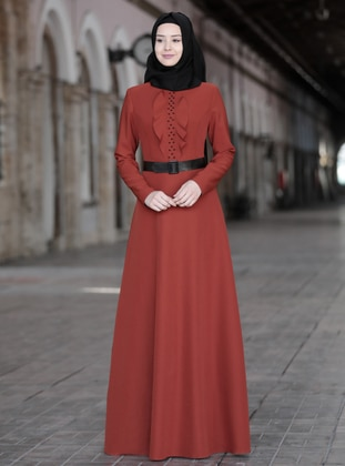 Terra Cotta - Unlined - Crew neck - Crepe - Muslim Evening Dress