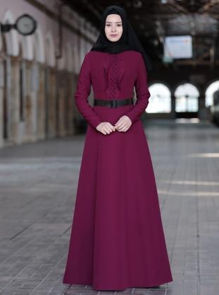 Plum - Unlined - Crew neck - Crepe - Muslim Evening Dress