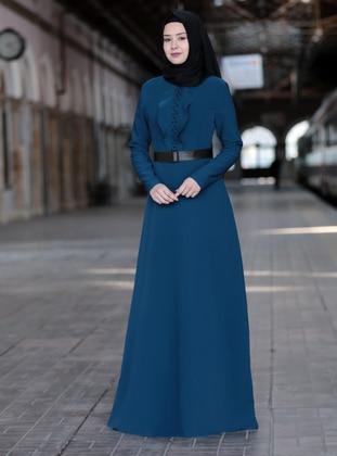 Petrol - Unlined - Crew neck - Crepe - Muslim Evening Dress