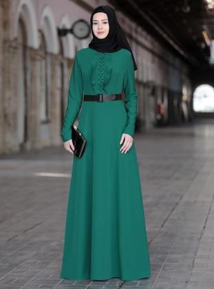 Emerald - Unlined - Crew neck - Crepe - Muslim Evening Dress