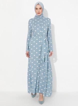 Blue - Geometric - Crew neck - Unlined -  - Dress