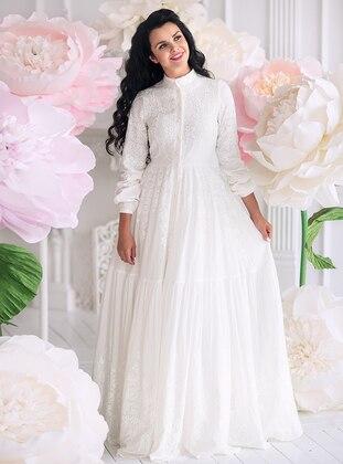 Ecru - Fully Lined - Polo neck -  - Muslim Evening Dress