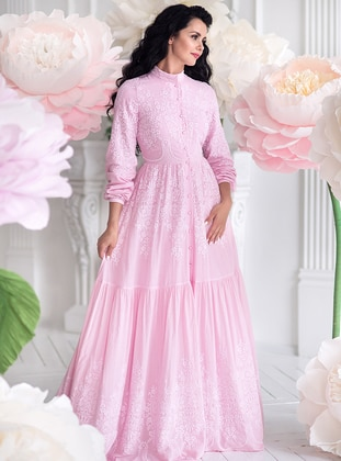 Pink - Fully Lined - Polo neck -  - Muslim Evening Dress
