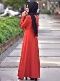 Orange - Crew neck - Unlined - Viscose - Dress