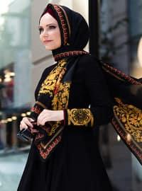 Black - Fully Lined - Polo neck - Viscose - Muslim Evening Dress