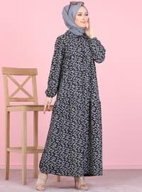 Siyah - Çiçekli - Fransız yakalı - Astarsız kumaş - - Elbise