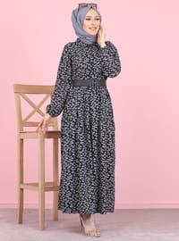 Siyah - Çiçekli - Fransız yaka - Astarsız kumaş - - Elbise