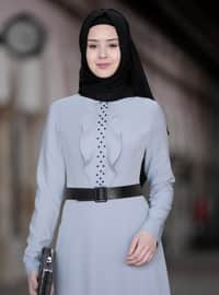 Gray - Unlined - Crew neck - Crepe - Muslim Evening Dress