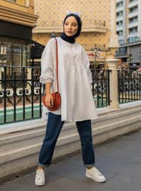 White - Crew neck -  - Tunic