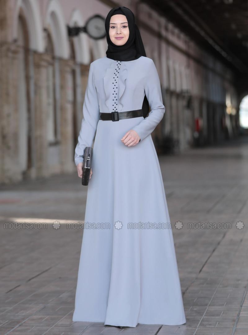 Gray - Unlined - Crew neck - Crepe - Muslim Evening Dress