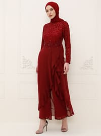 Maroon - Fully Lined - Crew neck - Jumpsuit