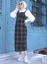 Haki - Siyah - Ekose - Dik yaka - Astarsız - - Elbise