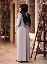 Gray - Unlined - Crew neck - Plus Size Dress