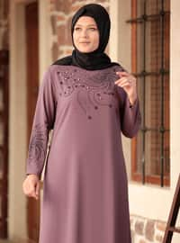 Lilac - Unlined - Crew neck - Plus Size Dress