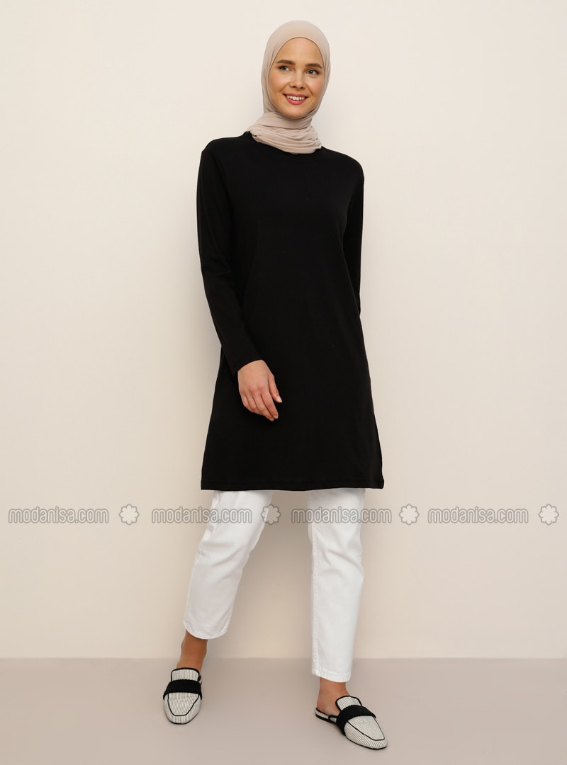 Cotton Fabric Crew-Neck Tunic - Black