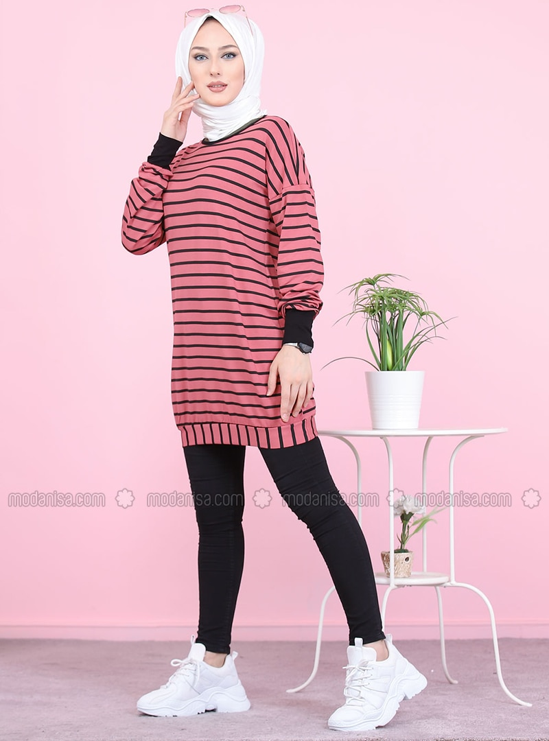 Dusty Rose - Stripe - Crew neck - Viscose - Tunic