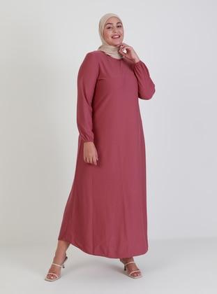 Dusty Rose - Hac ve Umre - Unlined - Crew neck - Plus Size Dress