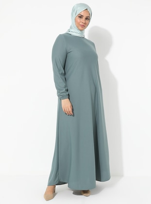 Mint - Hac ve Umre - Unlined - Crew neck - Plus Size Dress