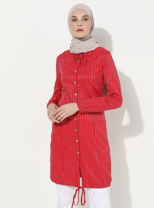 Red - Stripe - Point Collar -  - Tunic