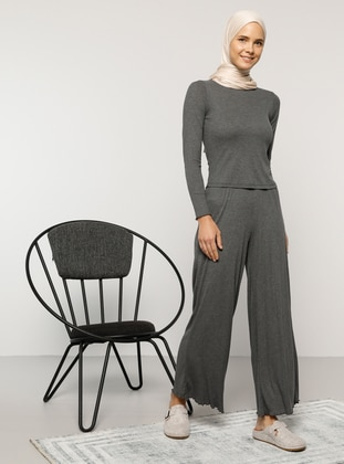 Anthracite - Unlined - Viscose - Suit