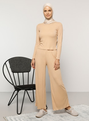 Camel - Unlined - Viscose - Suit