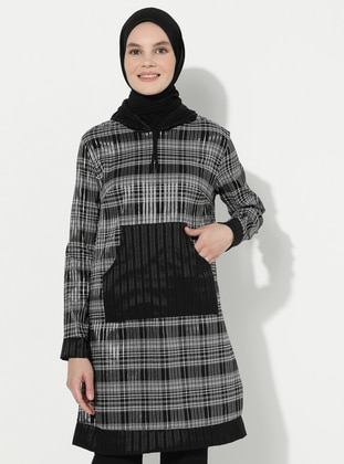 Gray - Black - Stripe -  - Tunic
