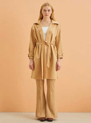 Beige - Unlined - Shawl Collar - Trench Coat