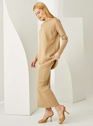 Camel - Unlined -  - Viscose - Skirt