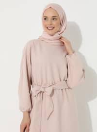 Bej - Yuvarlak yakalı - Astarsız kumaş - - Elbise