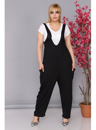 Black - Plus Size Jumpsuits - MJORA