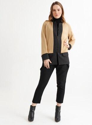 Camel - Black - Unlined - Crew neck - Acrylic - Wool Blend - Jacket