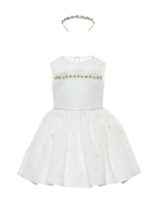 Crew neck -  - Fully Lined - White - Ecru - Girls` Dress