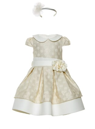 Round Collar -  - Fully Lined - White - Ecru - Girls` Dress