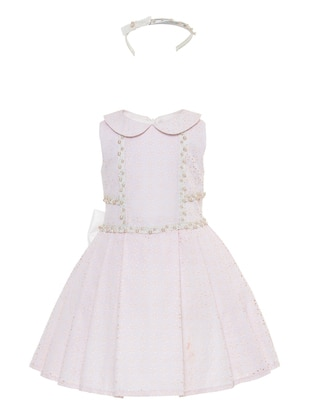 Round Collar -  - Fully Lined - Powder - Girls` Dress