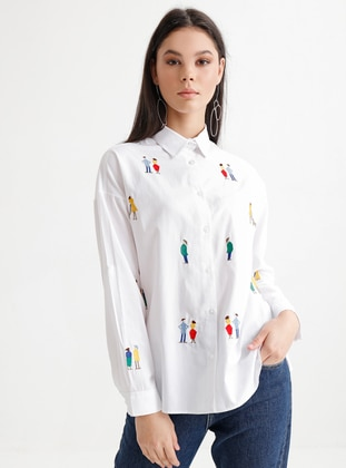 White - Multi - Point Collar - Blouses