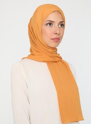 Camel - Plain - Chiffon - Shawl