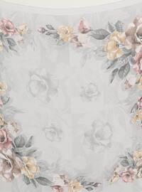 Gray - Floral - Chiffon - Scarf