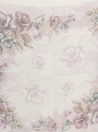 Cream - Lilac - Floral - Chiffon - Scarf