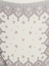 Cream - Lilac - Printed - Chiffon - Scarf